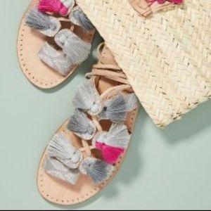 Anthropologie Minda Living Embroidered sandals
